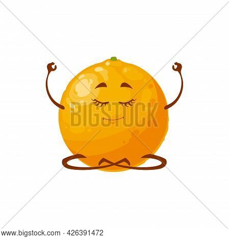 Cartoon Orange Fruit Yoga Practice Vector Icon, Funny Character Doing Meditation Isolated On White B