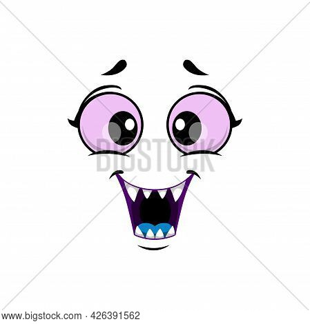 Cartoon Monster Face Isolated Vector Icon, Funny Facial Emoji Of Halloween Creature. Emotion Toothy