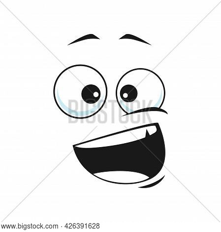 Cartoon Face Vector Icon, Happy Emoji, Laughing Facial Expression With Smiling Toothy Mouth And Wide