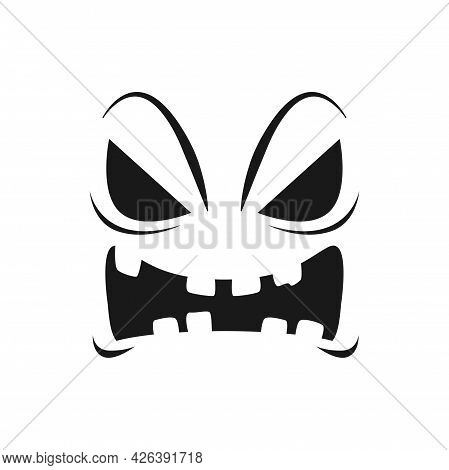 Halloween Pumpkin Face Vector Icon, Scary Evil Emoji With Creepy Eyes And Toothy Mouth. Ghost, Jack