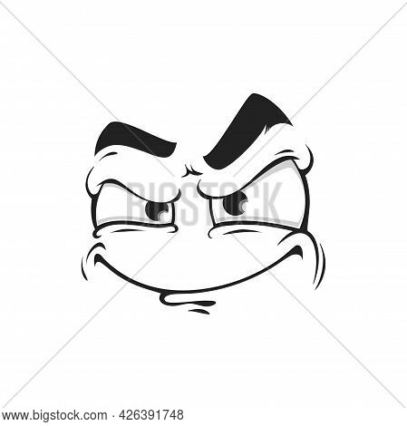 Cartoon Face Vector Icon, Gloat Emoji With Angry Eyes And Smirk Smiling Mouth. Facial Expression, Fu