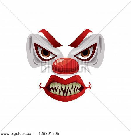 Scary Clown Face Vector Icon, Funster Grin Mask With Creepy Makeup, Red Nose, Angry Eyes And Open Mo