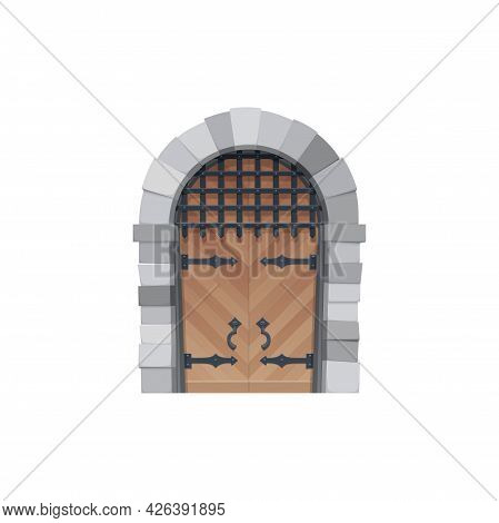Cartoon Door Vector Icon, Medieval Wooden Gates With Stone Arch, Forged Hinges, Grating And Handles.