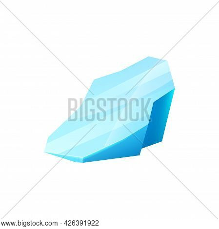 Ice Crystal, Blue Iced Glacier Or Floe, Vector Iceberg, Cap Snowdrift Winter Element For Gui And Ui