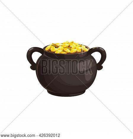 Pot With Gold Vector Icon, Leprechaun Treasure, Irish St. Patricks Day Cauldron With Golden Sparklin