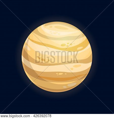 Galaxy Planet Desert Surface With Craters Isolated Fantasy Cartoon Exoplanet. Vector Purple Far Alie