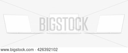 Set Of Clay Laptops With Blank Screens, Front And Side View, Isolated On White Background. Vector Il