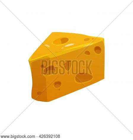 Emmentaler Or Emmenthal Organic Healthy Product Of Cows Milk Isolated Cartoon Icon. Vector Healthy G