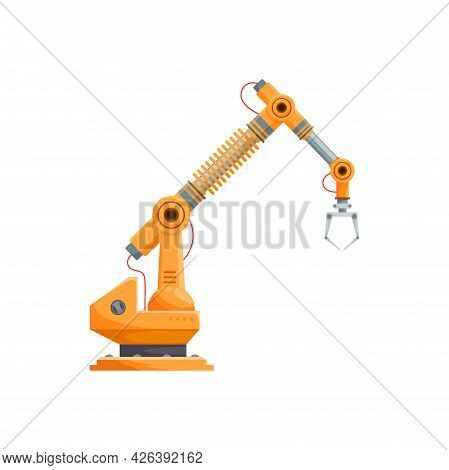 Automated Mechanic Hand Isolated Robotic Arm With Grabbing Claw. Vector Industrial Machinery Equipme