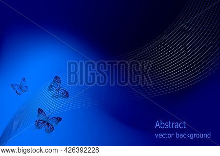 Butterflies In The Background Decor.vector Illustration With A Blue Background And A Decor Of Butter
