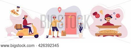 Three Food Delivery Design Concept Set Courier Rides Scooter Another Rings Doorbell And Another Offe