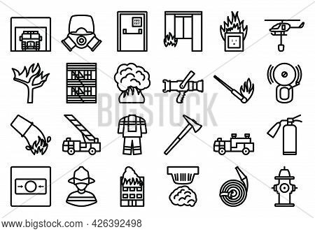 Fire Icon Set. Bold Outline Design With Editable Stroke Width. Vector Illustration.