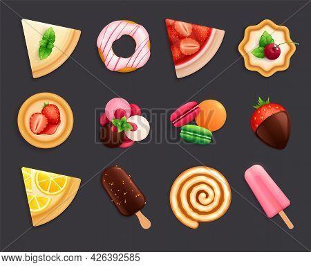 Desserts Sweets Top View Set Flat Black Background Lemon Pie Donut Macaron Ice Cream Realistic Vecto