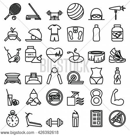 Fitness Icon Set. Bold Outline Design With Editable Stroke Width. Vector Illustration.