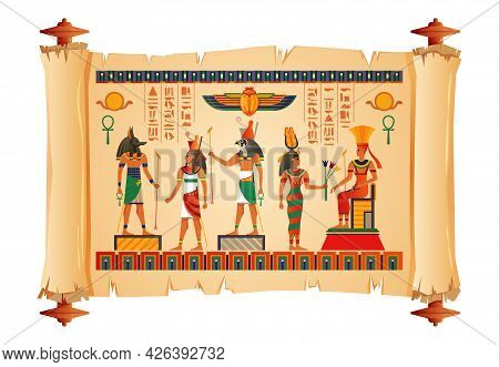 Ancient Egypt Religion Culture History Papyrus With Main Gods Images Scarab Beetle Amulet Museum Exh