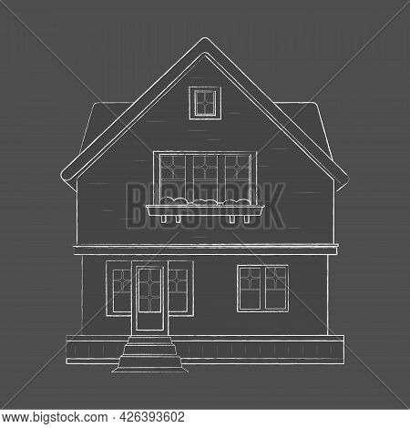 The Project Is Architectural. Sketch Of A Detached Family House With A Garden. Vector