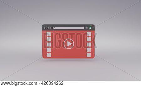 Online Multimedia Video Or Audio Player On Internet Browser 3d Rendering Illustration