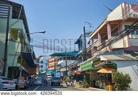 Mae Sai, Chiang Rai Province, Thailand - February 19, 2019: Street Of A Small Thai Town On The Borde