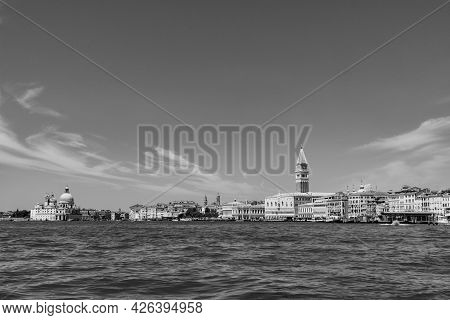 View To San Marco Square With Facade Of The Doge's Palace In Venice, Italy Under Blue Sky