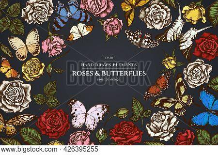 Floral Design On Dark Background With Menelaus Blue Morpho, Giant Swordtail, Lemon Butterfly, Red La