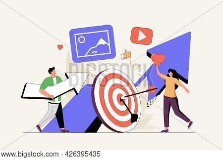 Mass Media Abstract Concept Vector Illustration Set. High Roi Content, News Aggregator Software, Med