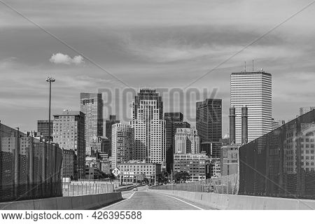 Entering Boston By Interstate With Blue Sky And Skyline, Usa