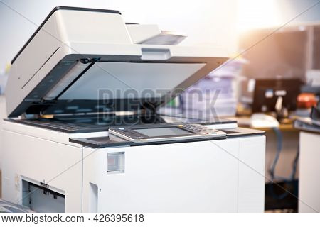 Copier Printer, Close Up The Photocopier Or Photocopy Machine With Document Scanning Light For Scann