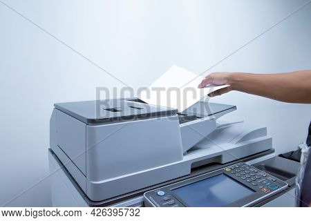 Copier Printer, Close Up Hand Office Man Add A Paper On Tray Panel The Copier To Using Photocopier M