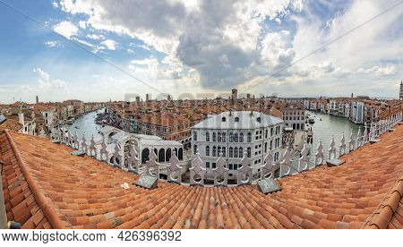 Panoramic View From The Observation Platform From Fondaco Dei Tedeschi To The Canale Grande And Scen