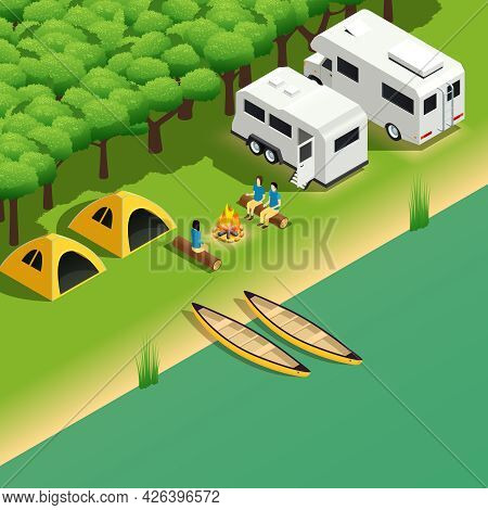 Kayak Rafting Downstream Tours Isometric Composition With Canoe Trip Camping Spot On River Bank Vect