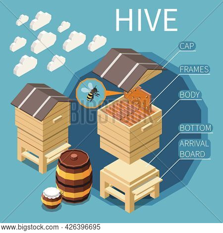 Hive Construction Isometric Background With Cap Frames Body Bottom Arrival Board Elements Vector Ill