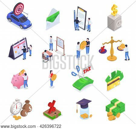 Financial Education Literacy Isometric Icon Set Stacks Of Bills Taxes Interest Settlements Safes And