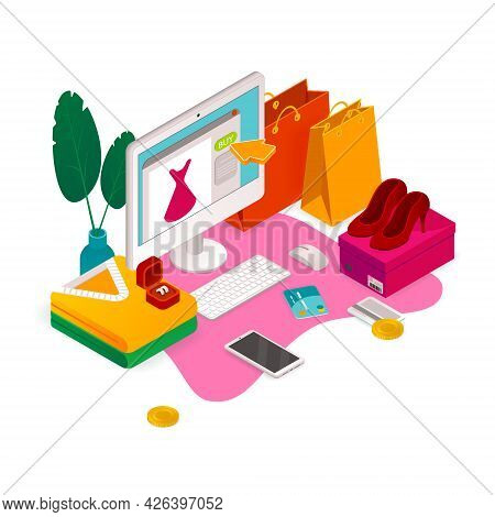 E-commerce Isometric Composition With Images Of Computer And Shopping Bags With Female Accessories A