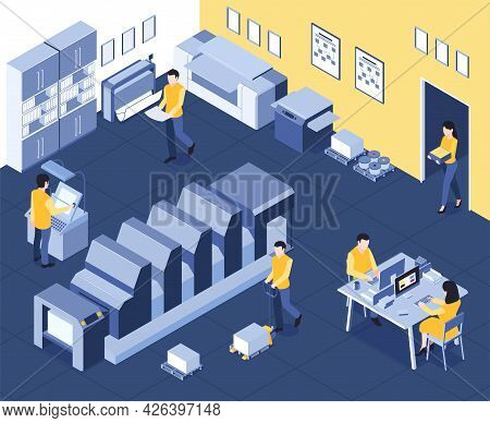 Isometric Polygraphy House Composition With Indoor View Of Production Department With Machinery Comp