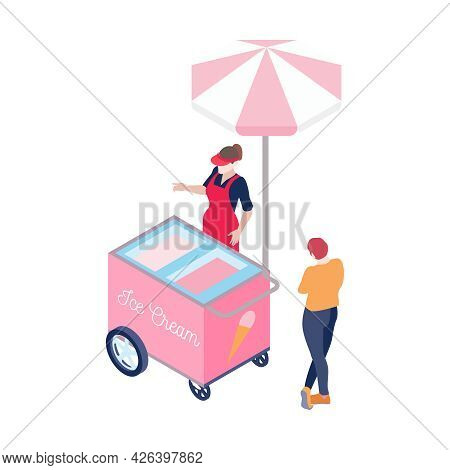 Isometric Pink Ice Cream Cart Vendor And Customer 3d Vector Illustration