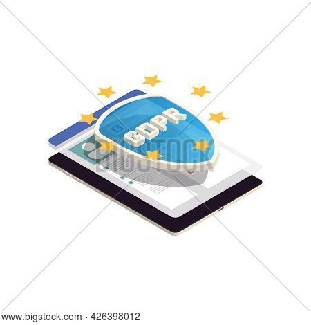 Privacy Isometric Icon With Gdpr Shield On Personal Information 3d Vector Illustration