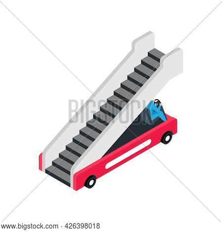 Isometric Color Icon With Aircraft Boarding Ramp 3d Vector Illustration