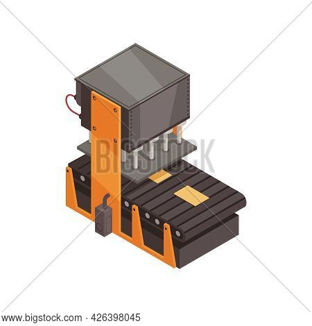 Automated Factory Machinery With Assembly Line Isometric Vector Illustration