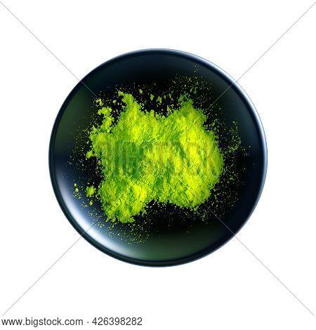 Realistic Green Matcha Tea Powder In Dark Bowl Top View Vector Illustration