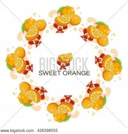 Sweet Orange. Fresh Fruit. Round Frame.tropical Fruits, Cute Crab With Slice Of Ripe Orange. Fresh F