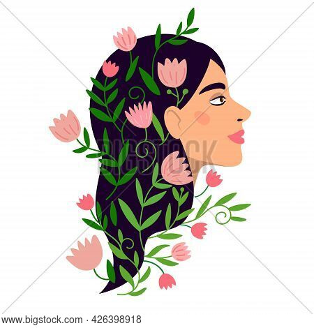 Resourceful Woman With Positive Harmony Mental Health. Female Vector Portrait With Blooming Flowers