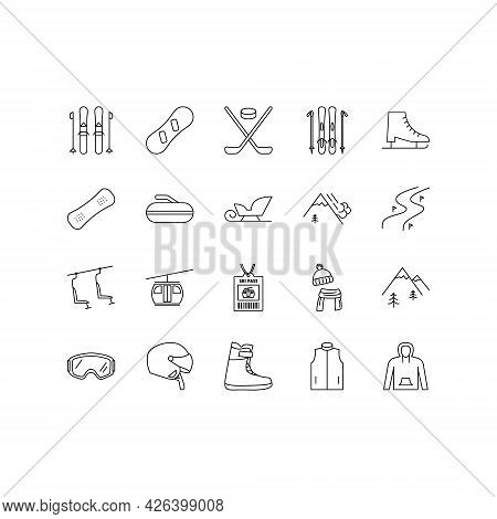 Winter Sport Equipment Flat Line Icons Set. Sports Games Equipment And Activities. Simple Flat Vecto