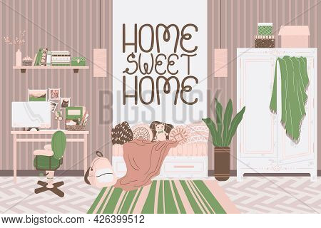 Workplace Interior With Slogan Home Sweet Home, Hand Drawn Illustration In Cartoon Flat Style. Home