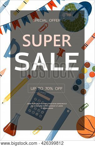 Back To School. Advertising Banner, Sale, Online Store, Web. Stationery For School, University And O