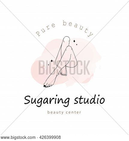 Female Smooth Legs. Hair Removal. Laser And Wax Epilation. Vector Illustration Of Elegant Feet In A