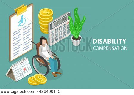 3d Isometric Flat Vector Conceptual Illustration Of Disability Compensation, Workers Compensation Pr
