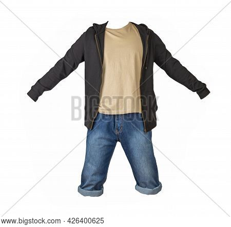 Denim Dark Blue Shorts,beige T-shirt  And Black Sweatshirt With Zipper And Hood  Isolated On White B