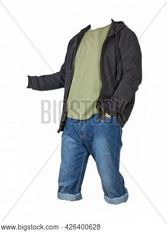 Denim Dark Blue Shorts,olive T-shirt  And Black Sweatshirt With Zipper And Hood  Isolated On White B