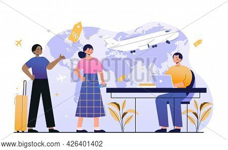 Male Worker Is Showing New Tourist Places, Resorts, Vacation Tours To Clients. Concept Of Travel Age