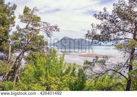 Montenegro, Skadar Lake National Park. View Of Coast Of Lake Skadar On Cloudy Spring Day